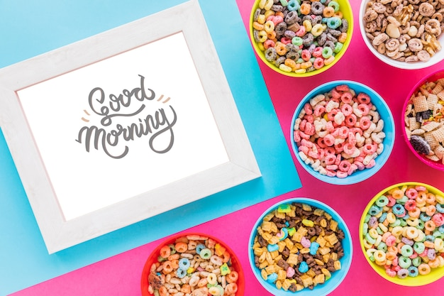 Top view of cereal bowls and frame Free Psd