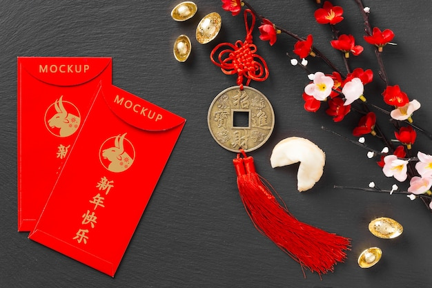 Top view chinese new year 2021 with envelopes mock-up Free Psd