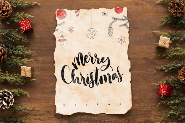 Christmas Top View.Top View Christmas Composition With Old Paper Mockup Psd