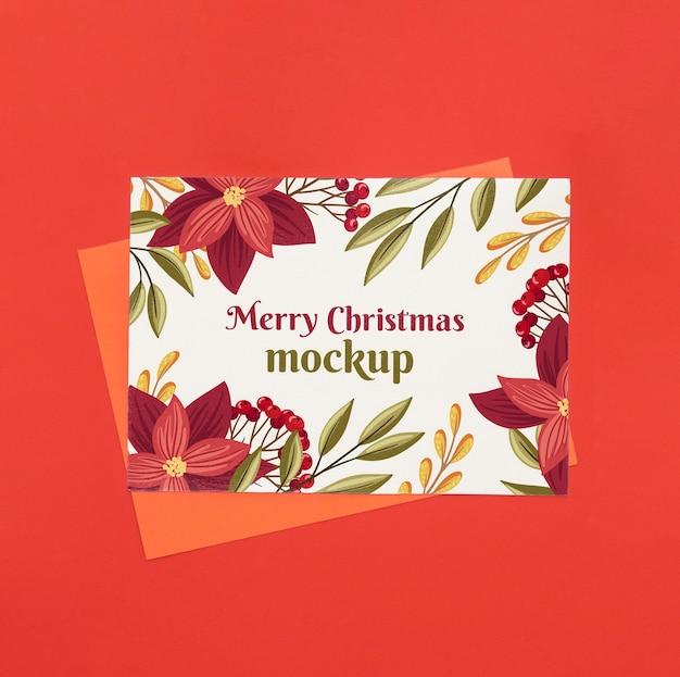 Vista dall'alto di artigianato natalizio con fiori Psd Gratuite