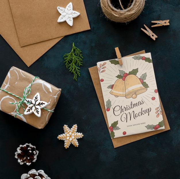 Top view of christmas crafts with present Premium Psd