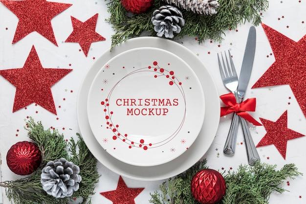 Mock-up di decorazione natalizia vista dall'alto Psd Gratuite