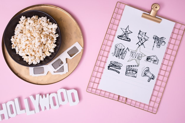 Top view cinema assortment on pink background Free Psd