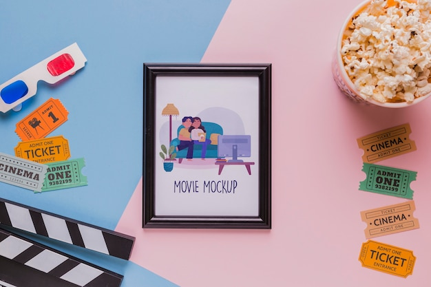 Top view cinema concept with frame Free Psd