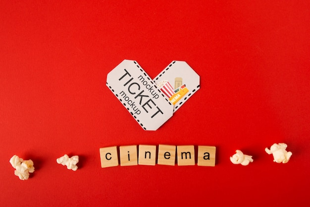 Top view cinema scrabble letters and popcorn Free Psd