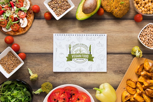 Top view circular frame with healthy food Free Psd