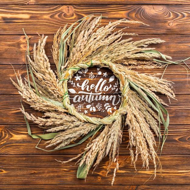 Круглая рамка сверху с зернами пшеницы Бесплатные Psd