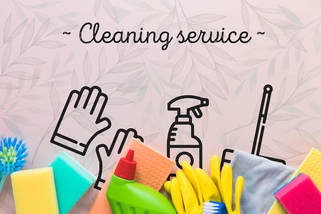 Vista dall'alto attrezzature per servizi di pulizia Psd Gratuite