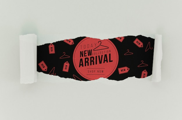 Top view clothing store new arrival mock-up on paper Free Psd