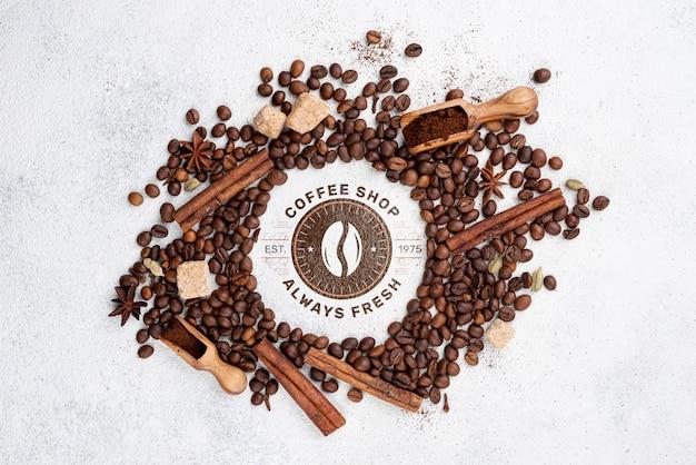 상위 뷰 커피 콩 이랑 무료 PSD 파일
