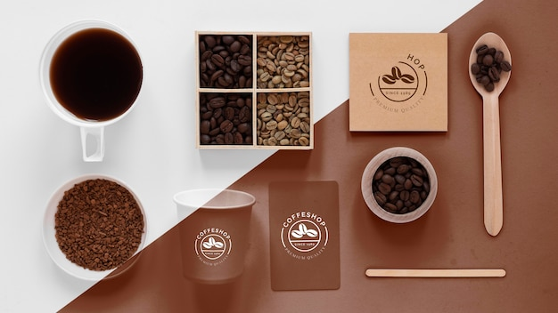 Top view of coffee concept mock-up Free Psd