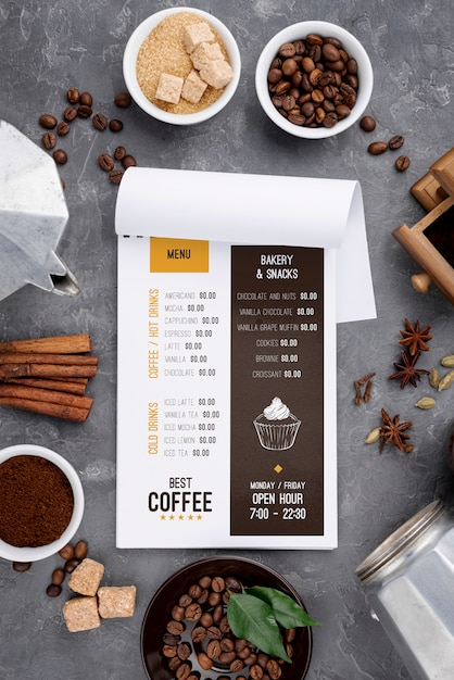Вид сверху макет меню кофе Бесплатные Psd