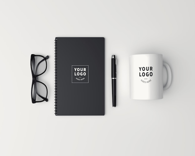Top view coffee mug with block note mockup Premium Psd