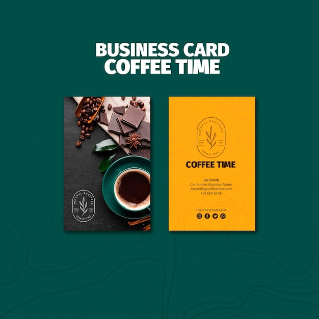 Top view coffee time business card template Free Psd