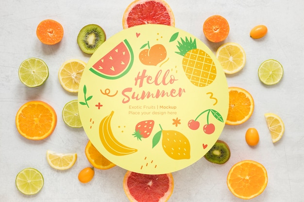 Top view collection of exotic fruits with mock-up Free Psd