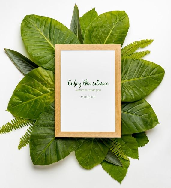 Вид сверху коллекция зеленых листьев с макетом Бесплатные Psd