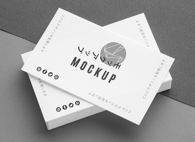 Top view composition of business visiting card Free Psd
