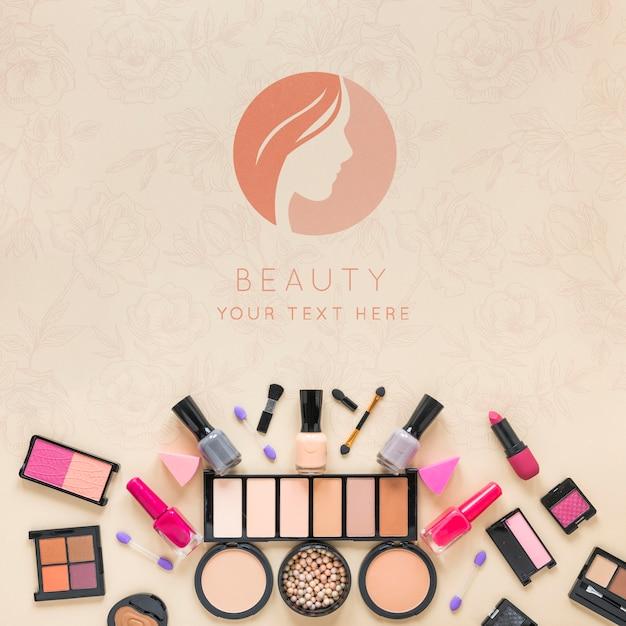 Top view cosmetics arrangement Free Psd