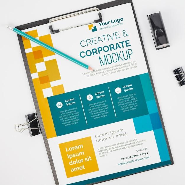 상위 뷰 크리에이티브 및 기업 비즈니스 모형 무료 PSD 파일