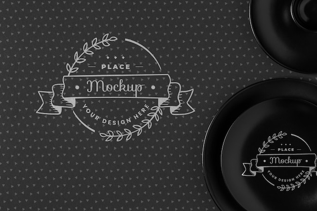 Top view of crockery concept mock-up Free Psd