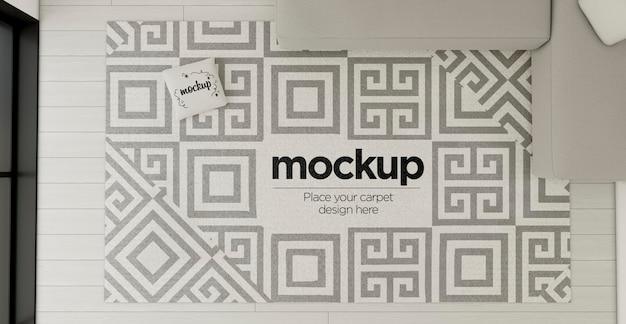 カーペットのモックアップによる平面図の装飾的な配置 無料 Psd