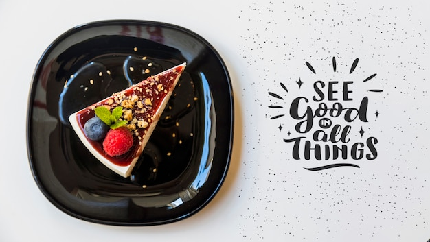 Top view of delicious cheesecake Free Psd