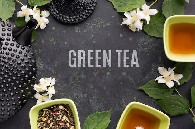 Вид сверху вкусных специй зеленого чая Бесплатные Psd