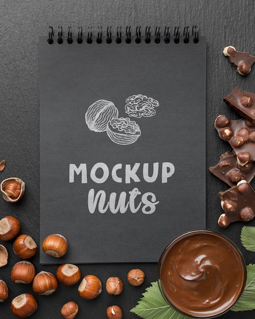 Top view of delicious nuts mock-up Premium Psd