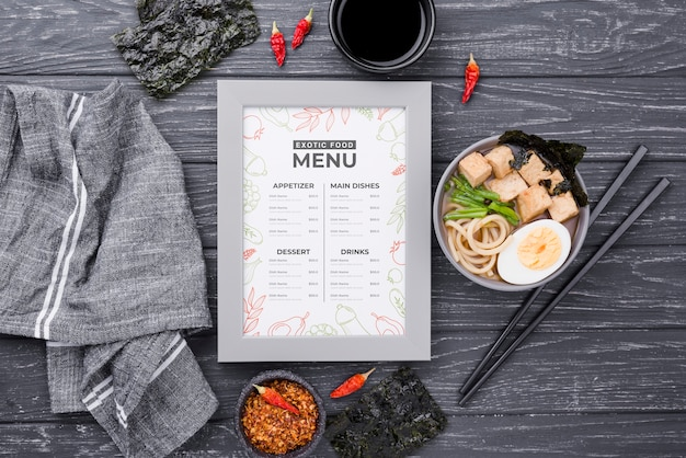 Top view delicious restaurant menu on the table Free Psd