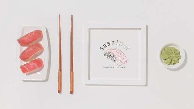 Top view delicious sushi Free Psd