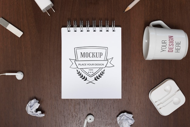 Top view desk mock-up with mug Free Psd