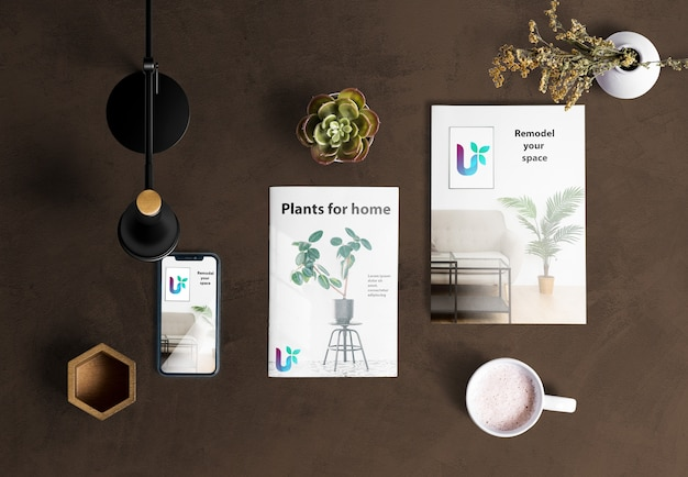 Top view of desk scene creator with plant elements Free Psd