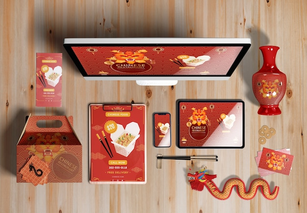 Top view digital devices and gifts for chinese new year Free Psd