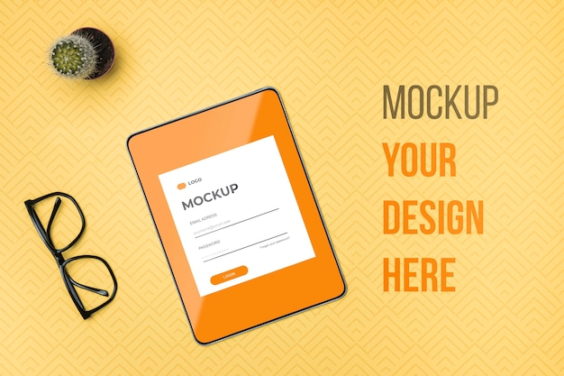 Top view digital tablet and reading glasses mock-up Free Psd
