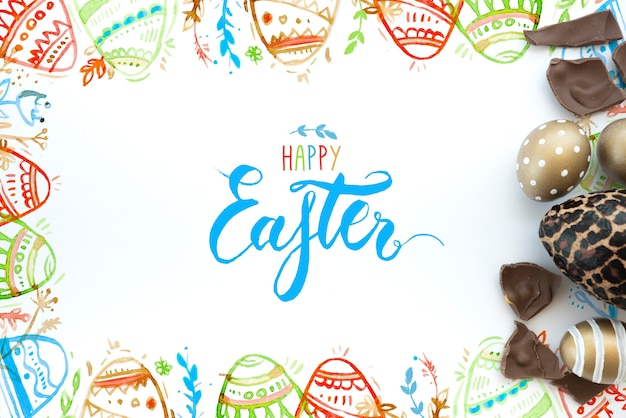 Top view easter mockup Free Psd