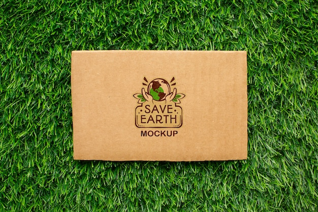 Top view eco cardboard mock-up Free Psd