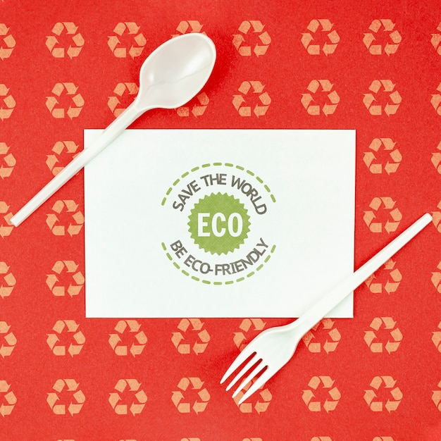 Top view eco-friendly tableware Free Psd