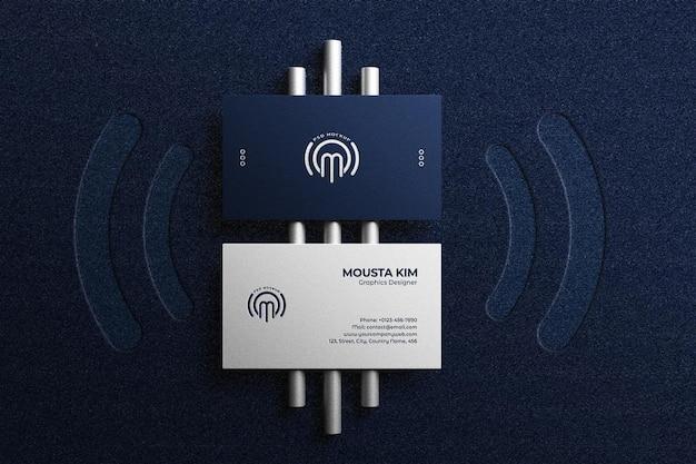 Top view elegant business card mockup Premium Psd