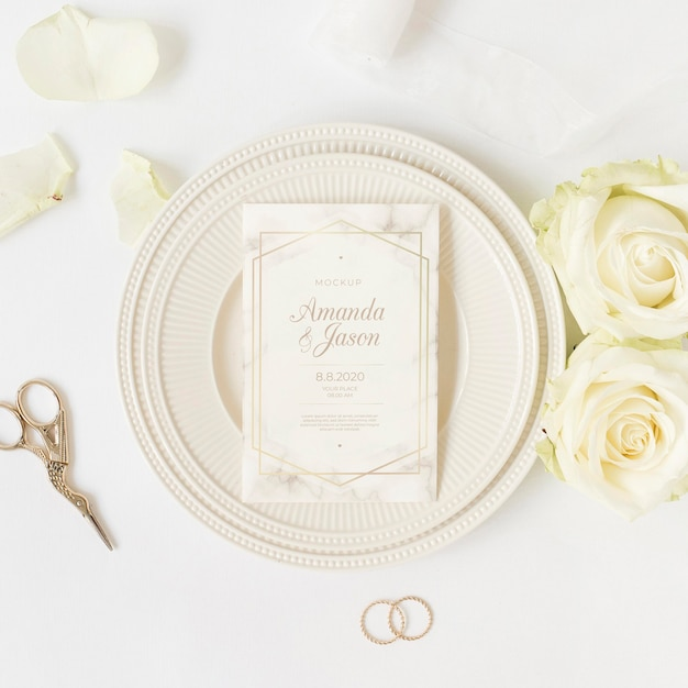Top view elegant wedding invitation with mock-up Free Psd