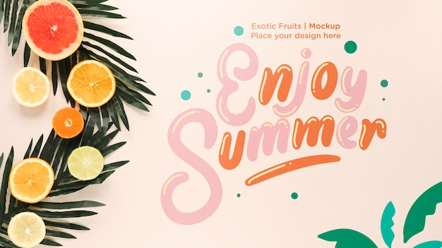 Top view enjoy summer with mock-up Free Psd