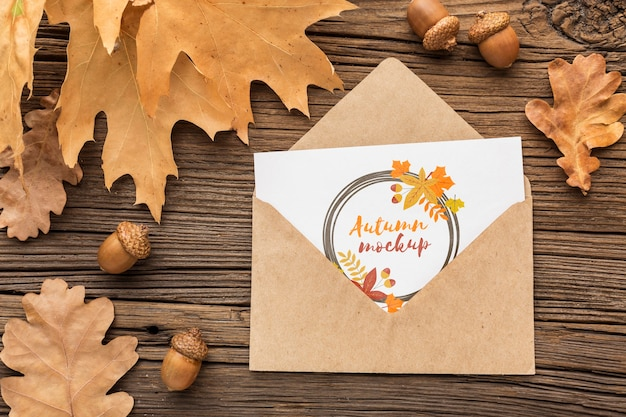 Top view envelope with greeting Free Psd
