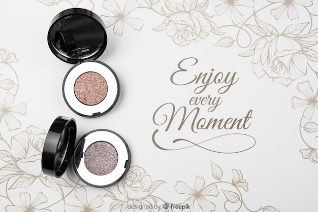 Top view of eye shadow mock-up Free Psd