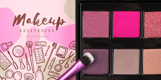 Top view of eye shadow palette mock-up Free Psd