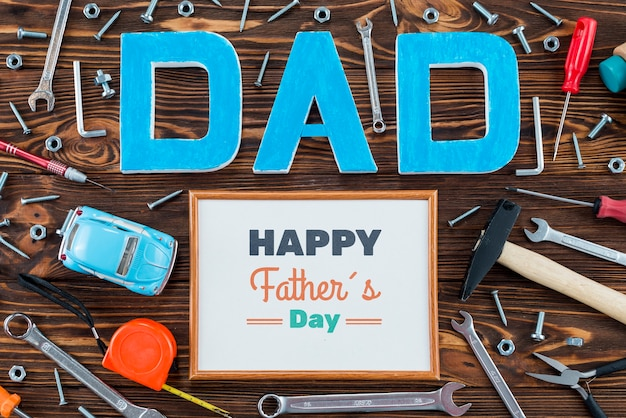 Top view of father's day concept Free Psd