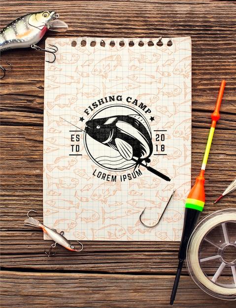 トップビュー釣りアクセサリーモックアップメモ帳 無料 Psd