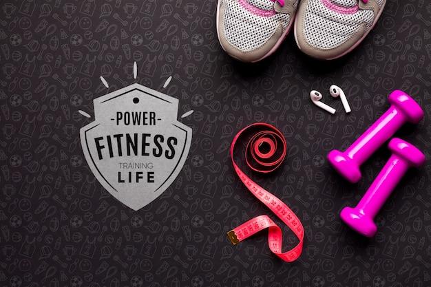 Attrezzature per lezioni di fitness vista dall'alto Psd Gratuite