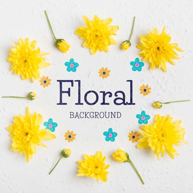 Concetto di sfondo floreale vista dall'alto Psd Gratuite