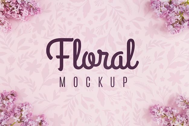 紫の花のトップビュー花モックアップ 無料 Psd