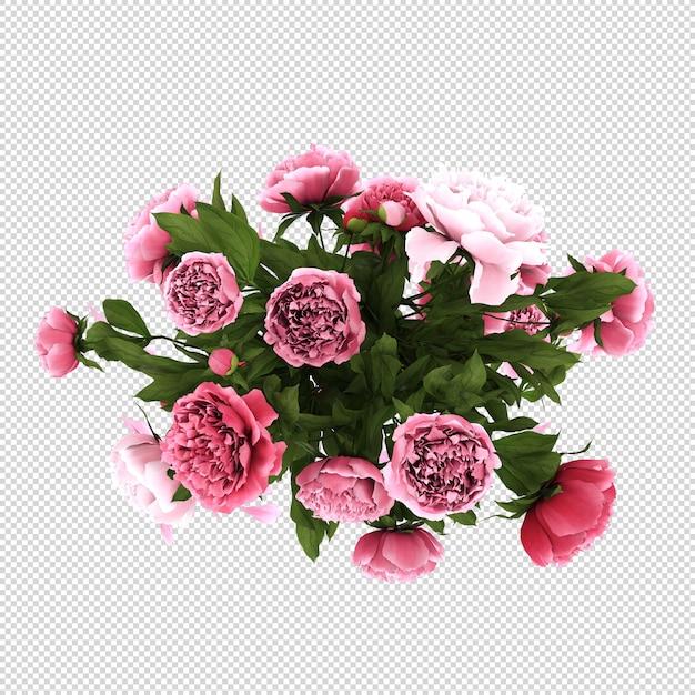 分離された3dレンダリングで花瓶のトップビューの花 Premium Psd