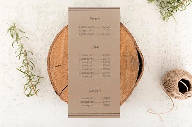 Top view of food menu concept mock-up Free Psd
